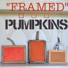 Framed pumpkins, orange, rustic, textural and inexpensive.