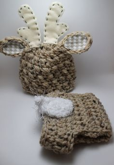 Baby Boy or Girl Deer Hat and Diaper Cover Set by KnittyMomma, $25.00