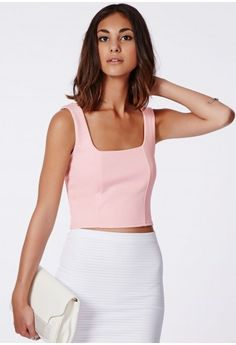 Missguided - Suzy Square Neck Crop Top Nude