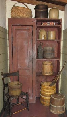 A primitive buttery.Commonly known today as a mud room