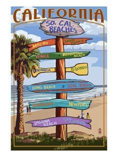 Southern California Beaches - Destination Sign Print by Lantern Press at Art.com