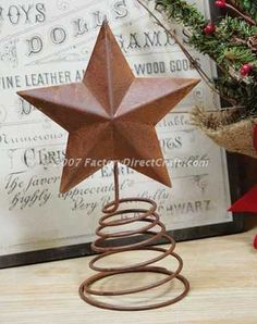 "7-1/2"" Primitive Rusted Metal Star Tree Topper"
