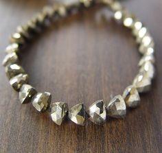 Triangle Pyrite Bracelet 14k Gold by friedasophie on Etsy, $49.00
