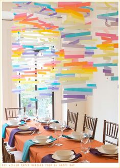 Una idea preciosa - colgantes hechos con tiras de papel de cera de colores! / A lovely idea - hanging decorations made with strips of coloured vellum paper!