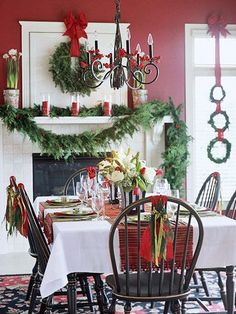 Keep table settings low so dinner party guests can chat comfortably.