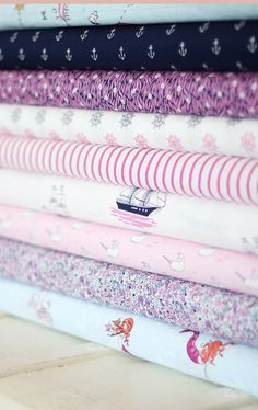 Sarah Jane out to sea fabric ... i <3 pink and navy!