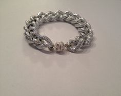 Silver Pave Chain Bracelet with Crystal by PennyChicDesigns, $22.00