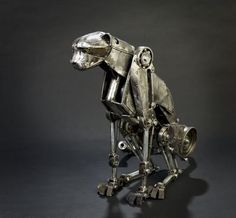 cats, cheetahs, animals, steampunk anim, dogs, artworks, metal, leopards, animal sculptures