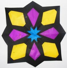 Geometric Design Stained Glass Window + lots more craft ideas