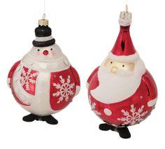 Santa and Snowman Ornament #red #white #Christmas #winter #glitter