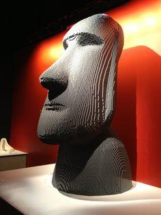 island head, nathan sawaya, dum dum, easter island, digital art, ancient aliens, lego art, bricks, legos