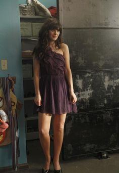 "Jess' (Zooey Deschanel) purple dress from the ""Wedding"" episode of NEW GIRL on FOX."