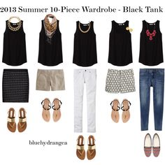 Summer Wardrobe - Black Tank: These variations help to see how to use a neutral tank when making outfits and proves the versatility of classic pieces.
