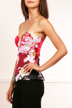 Roberto Cavalli floral patterned red and black bustier