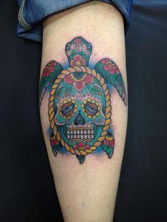 Day of the dead turtle tattoos broken dagger tattoo parlor Las Vegas bob Simmons