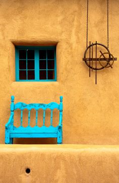 window benches, blue doors, mexico, canyon road, southwestern style