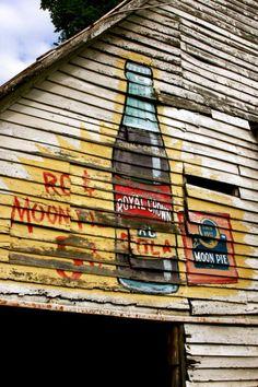 old barns advertising, royal crown, barn advertis, crown cola, southern memori, rc cola, moon pie, pies, countri