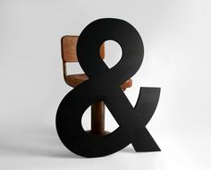 """Large Wooden Ampersand Matte Black by Hindsvik: Helvetica font, 33"""" tall, made of solid wood. Now THAT is an ampersand."""