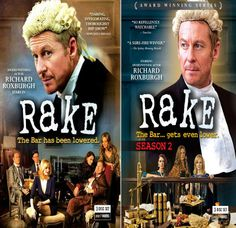 RAKE SEASONS 1 & 2.  Meet Australian criminal barrister Cleaver Greene--reckless, brilliant and self-destructive. Despite his personal hopelessness, Cleaver will do whatever it takes to defend and save life's truly lost souls, including cannibals, bigamists and abusive loan sharks.  http://highlandpark.bibliocommons.com/search?t=smart&search_category=keyword&q=rake+roxburgh&commit=Search