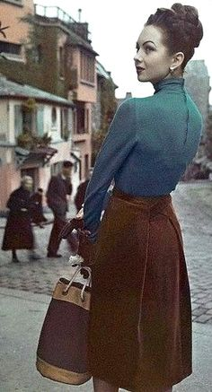 Paris, 1946 Wrap back skirt