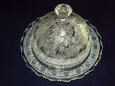 EAPG 1910 Beatty Glass BLUEBIRD aka BIRD AND STRAWBERRY  Butter Dish -
