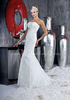 Mermaid Floor Length Lace/ Charmeuse Brooch Wedding Dress