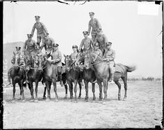 July 18, 1924, #police officers form human #pyramids on the backs of #horses during practice for the Police Department Field Day held in Grant Park. Photograph from the #Chicago Daily News. DN-0077352 #history #photography #blackandwhite