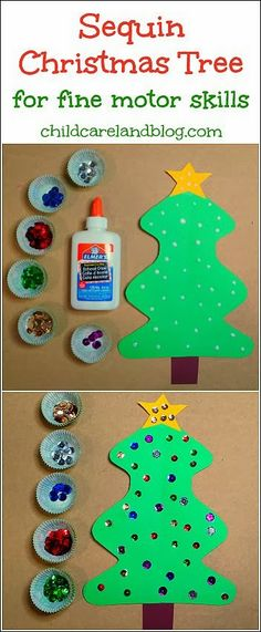 Sequin Christmas Tree - pinned by @PediaStaff – Please Visit ht.ly/63sNtfor all our pediatric therapy pins