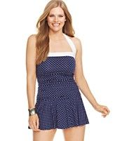 Lauren Ralph Lauren Plus Size Polka-Dot-Print Ruffled Swimdress