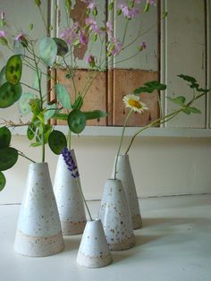 little white ceramic vases Margriet Kramer