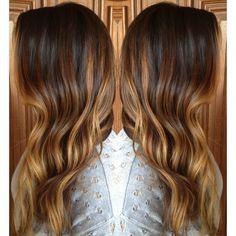 Caramel Sombre Highlights over long layered brunette curls. #StyledByKate at Mecca Salon. #balayage #ombre Instagram: @StyledByKate_