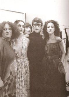 Pat Aste, Anjelica Huston, Halston and Pat Cleveland