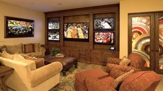 Multiple screen man cave... I like it!