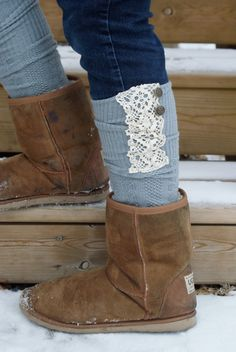 Boot Socks - Lace Grey Socks -Grey Boot Socks with Cream Lace and  Buttons. $29.00, via Etsy.
