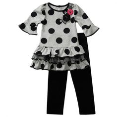 Infant Polka Dot Ruffle Dress and Legging Set - Infant Party Dress Blowout - Events