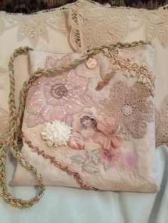 "I ❤ crazy quilting & embroidery . . .  Hand-made, dyed vintage lace, applique hand bag/purse #1  shabby hand-dyed vintage lace hand-made bag mostly pink/tea stained cotton muslin batik lined roughly 8"" square (ish) ~By kathryns55"