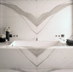 Double bookmatched marble installation...wow!