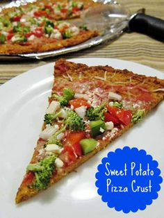 MADE IT! Sweet potato pizza crust. The crust has so much flavour, that you don't need many toppings! Just your yummy veggies and a little cheese!