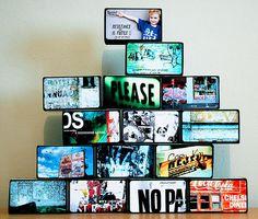 photos on wood blocks.