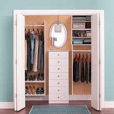 Give your bedroom closet a makeover with a new organization system.