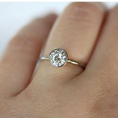 6mm Moissanite 14K White Gold Engagement Ring by louisagallery