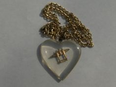 VTG WWII USA Lucite Heart Bomber Airplane Sweetheart Necklace