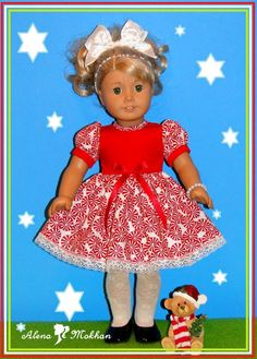 18 Inch American Style Doll Red Christmas Peppermint Candy Dress