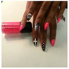 Pink white and black Fierce Cross nails = dope nail design ideas = nails swag obsession = nail porn