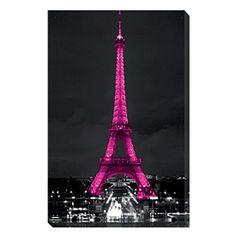 Pink Eiffel Tower Canvas 80cm x 50cm