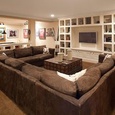 basement designs, living rooms, couch, rec rooms, family rooms, hous, media rooms, tv rooms, dream basement
