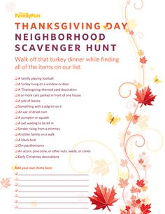 Thanksgiving Scavenger Hunt (Printable Activity for Kids) | FamilyFun November 2009 | FamilyFun