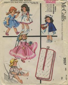 """Vintage Doll Clothes Sewing Pattern   Diminutive Dolls' Wardrobe Designed for Ginny, Wendy, Muffie, Lingerie Lou, Daily Dolly, Gigi and Mary Lou   McCall's 2057   Year 1956   Size 9""""-10"""""""