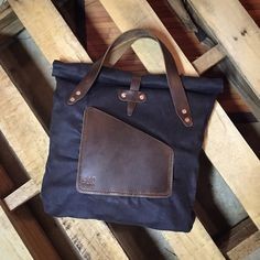 Waxed Denim & Leather Tote by 440 Gentleman Supply