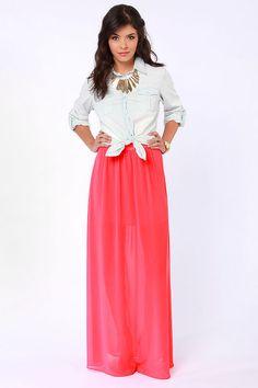 Gorgeous Coral Skirt - Maxi Skirt - $41.00